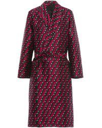 Prada Checked Print Silk Jacquard Robe - Red