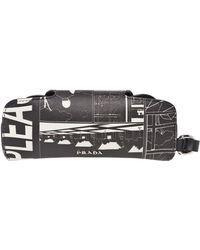 Prada Printed Leather Eyewear Case - Black