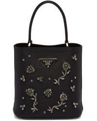 Prada Small Panier Bag With Appliqués - Black