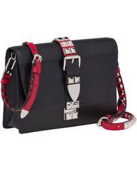 9f78ca4fe90a Lyst - Prada Elektra Calf Leather Bag in Black