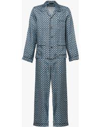 Prada Argyle Print Silk Pajamas - Blue