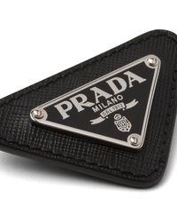Prada Enameled Triangle Pin With Saffiano Trim - Black