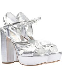 45b82da8766 Lyst - Miu Miu Madras Metallic Leather Ankle-strap Platform Sandals ...