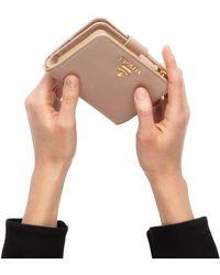fe832a05ff6b Prada - Small Saffiano Leather Wallet - Lyst