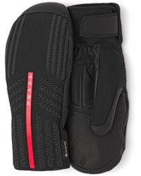 Prada Gore-tex, Leather And Knit Ski Mittens - Black