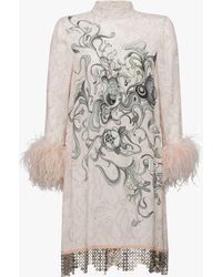 Prada - All Designer Products - Sable Dress With Feathers - Lyst