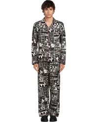 Prada Pijama De Seda Largo Con Cómics - Black