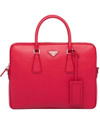 Prada Saffiano Leather Work Bag - Red