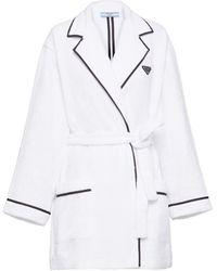Prada Short Terry Cloth Robe - White