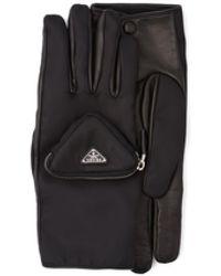 Prada Re-nylon And Napa Leather Gloves - Black
