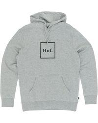 Huf Box Logo Pullover Hooded Sweatshirt - Grey