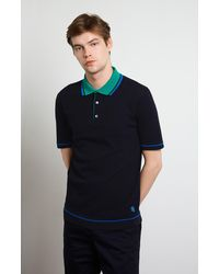 Pringle of Scotland Contrast Collar Polo Shirt - Blue