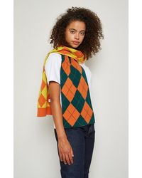 Pringle of Scotland Patched Argyle Scarf - Green