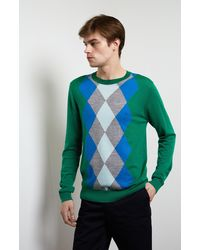 Pringle of Scotland Argyle Intarsia Merino Jumper In Green