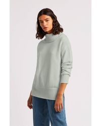 Pringle of Scotland Guernsey Stitch Roll Neck Cashmere Jumper - Blue