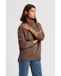 Pringle of Scotland Guernsey Stitch Roll Neck Cashmere Jumper - Brown