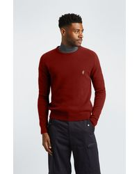 Pringle of Scotland Round Neck Lion Lambswool Jumper - Red