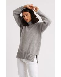 Pringle of Scotland Guernsey Stitch Roll Neck Cashmere Jumper - Grey