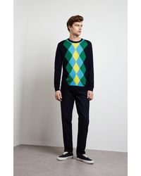 Pringle of Scotland Argyle Intarsia Jumper In Blue/green