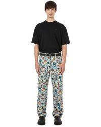 Charles Jeffrey LOVERBOY Pantalon imprimé en coton - Bleu