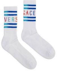 Versace Vintage 90s Logo Cotton Socks - White