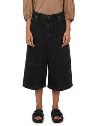 Tibi Bermuda en jean ample - Noir