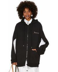Marni Oversize Zipped Hooded Sweatshirt - Black