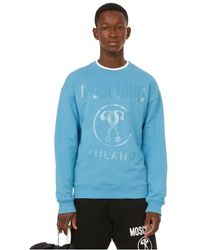 Moschino Sweatshirt Double Question Mark en coton - Bleu