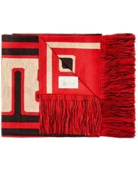 Aries Fringed Scarf With Printed Logo - Red