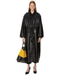 Nanushka Trench-coat Noki à capuche en cuir mélangé - Noir