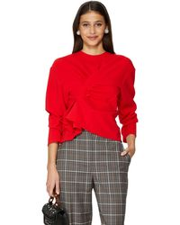A.W.A.K.E. MODE Top With Draped Detailing - Red