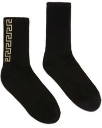 Versace Greca Cotton Socks - Black
