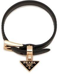 Prada Bracelet en cuir - Noir