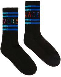 Versace Vintage 90s Logo Cotton Socks - Black