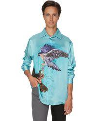GmbH Eagle Silk Bowling Shirt - Blue