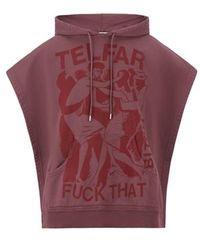 Telfar Sweatshirt poncho en coton - Rouge