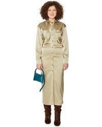 Nanushka Robe longue satinée - Neutre