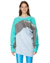 Y. Project Sweat-shirt à fronces en coton biologique - Bleu