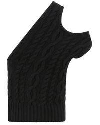 Telfar Pull sans manche torsadé en laine mélangée - Noir