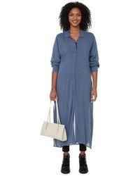 UNIVERSAL STANDARD Nailah Long Rayon Shirt Dress - Blue