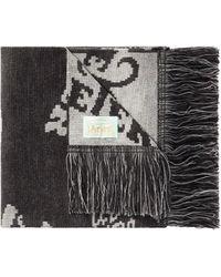 Aries Fringed Scarf With Monogram Logo Print - Black
