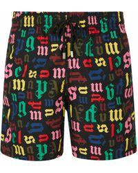 Palm Angels X Vilebrequin Monogram-print Swim Shorts - Black