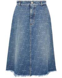 Balenciaga Jupe en jean à logo imprimé - Bleu