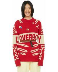 Charles Jeffrey LOVERBOY Pull en laine mélangée à logo - Rouge