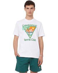 CASABLANCA Printed Cotton T-shirt - White