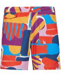 Sunspel Sun And Cloud Print Upcycled Marine Plastic Swim Shorts - Blue