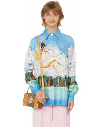 CASABLANCA Voyage Dans Les Nuages Print Silk Shirt - Blue