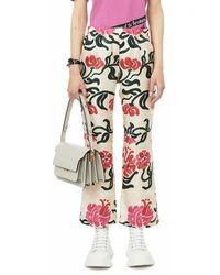 Marni Pantalon style pyjama en sergé de soie imprimé tropical - Blanc