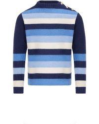 Wales Bonner Pull Johnson en laine - Bleu