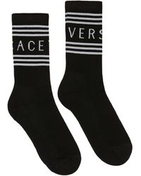 Versace Mid-calf Socks In Cotton - Black